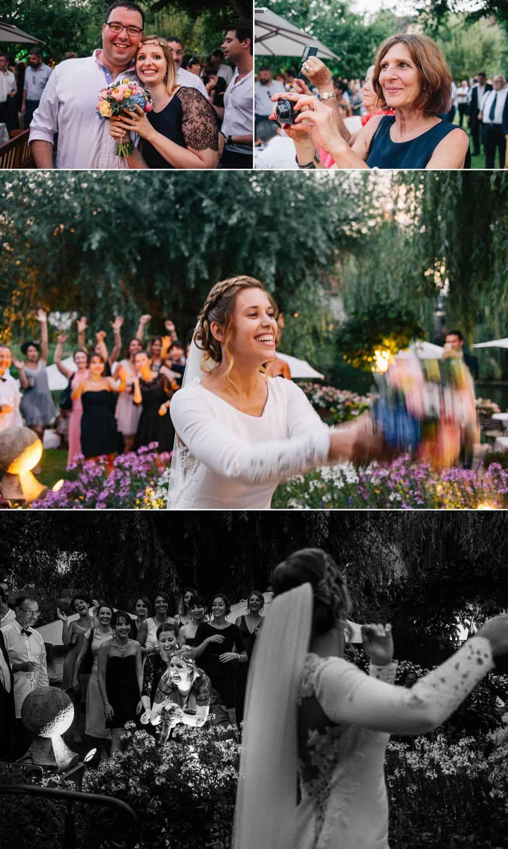 Le lancé de bouquet de la mariée à l'auberge de l'Ill