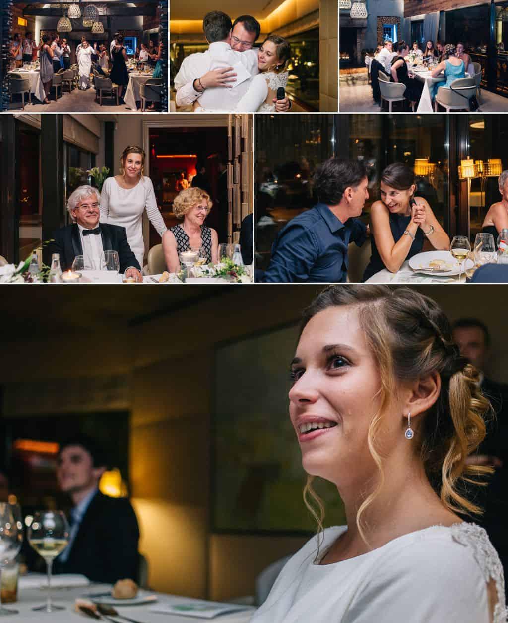 La soirée et les discours plein d'emotion au mariage