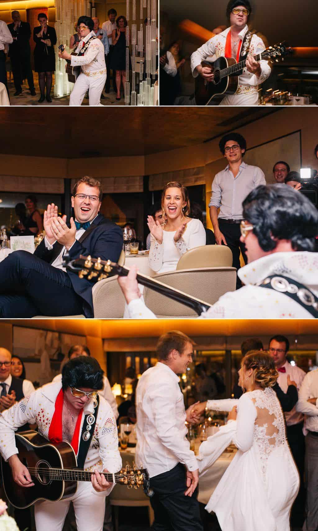 Un sosie d'Elvis pendant la soirée du mariage à l'Auberge de l'Ill
