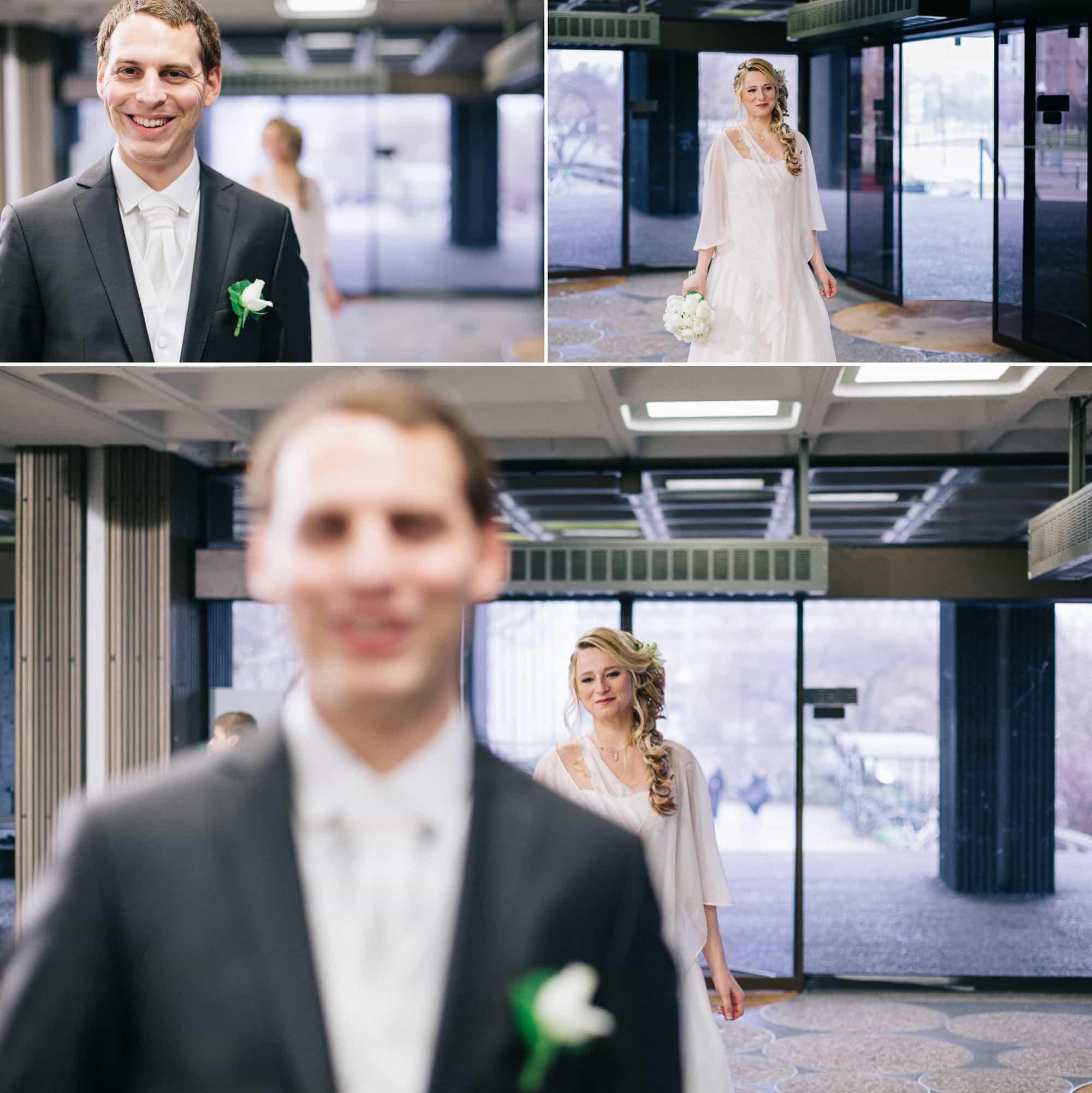 La découverte des mariés avant la cérémonie