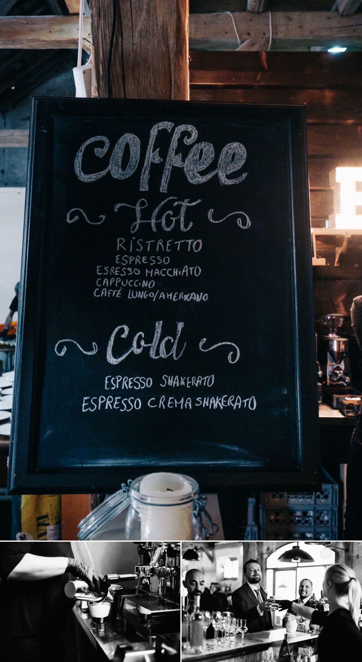 Barista et coktail de café pour le vin d'honneur du mariage