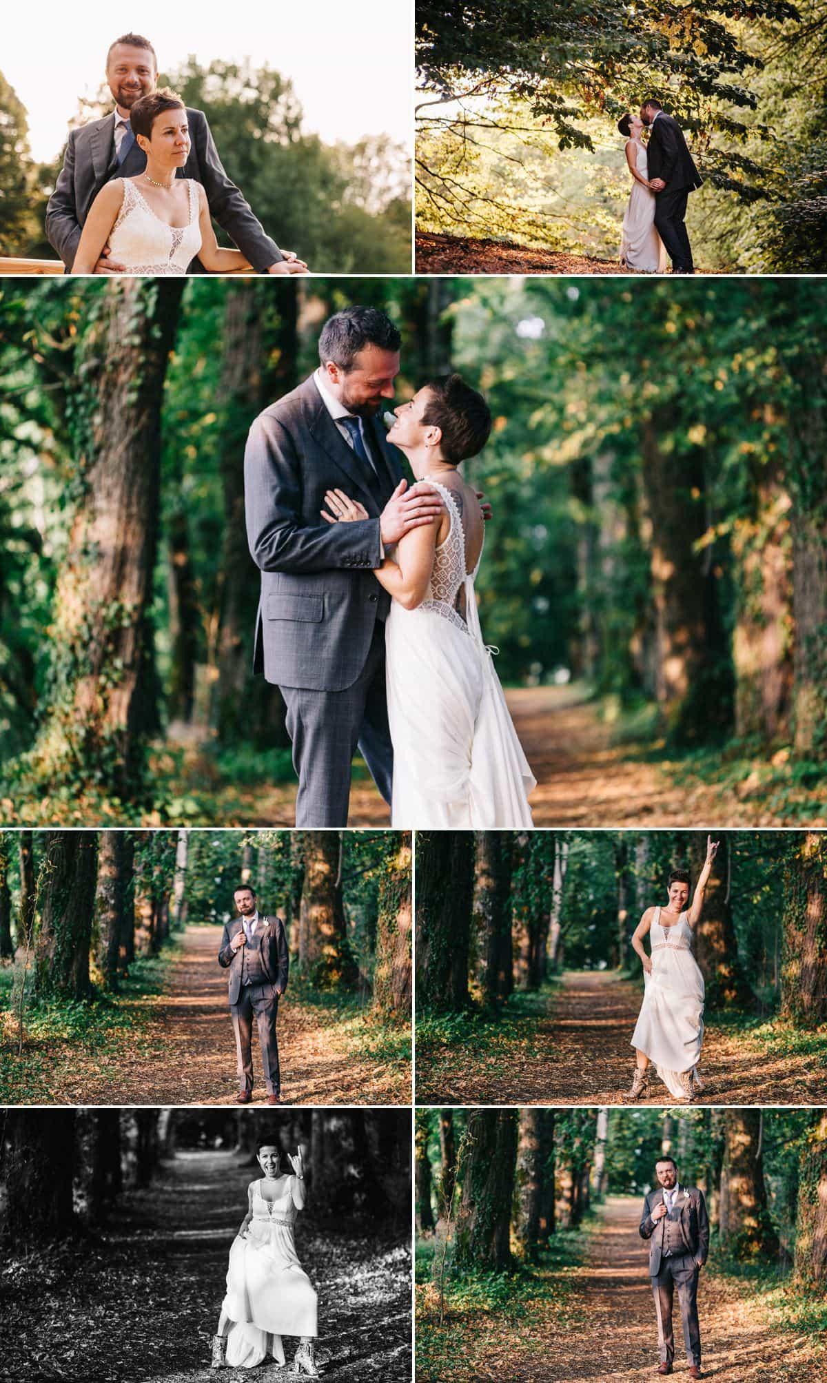 Photo de couple des jeunes mariés dans l'allée des seigneurs