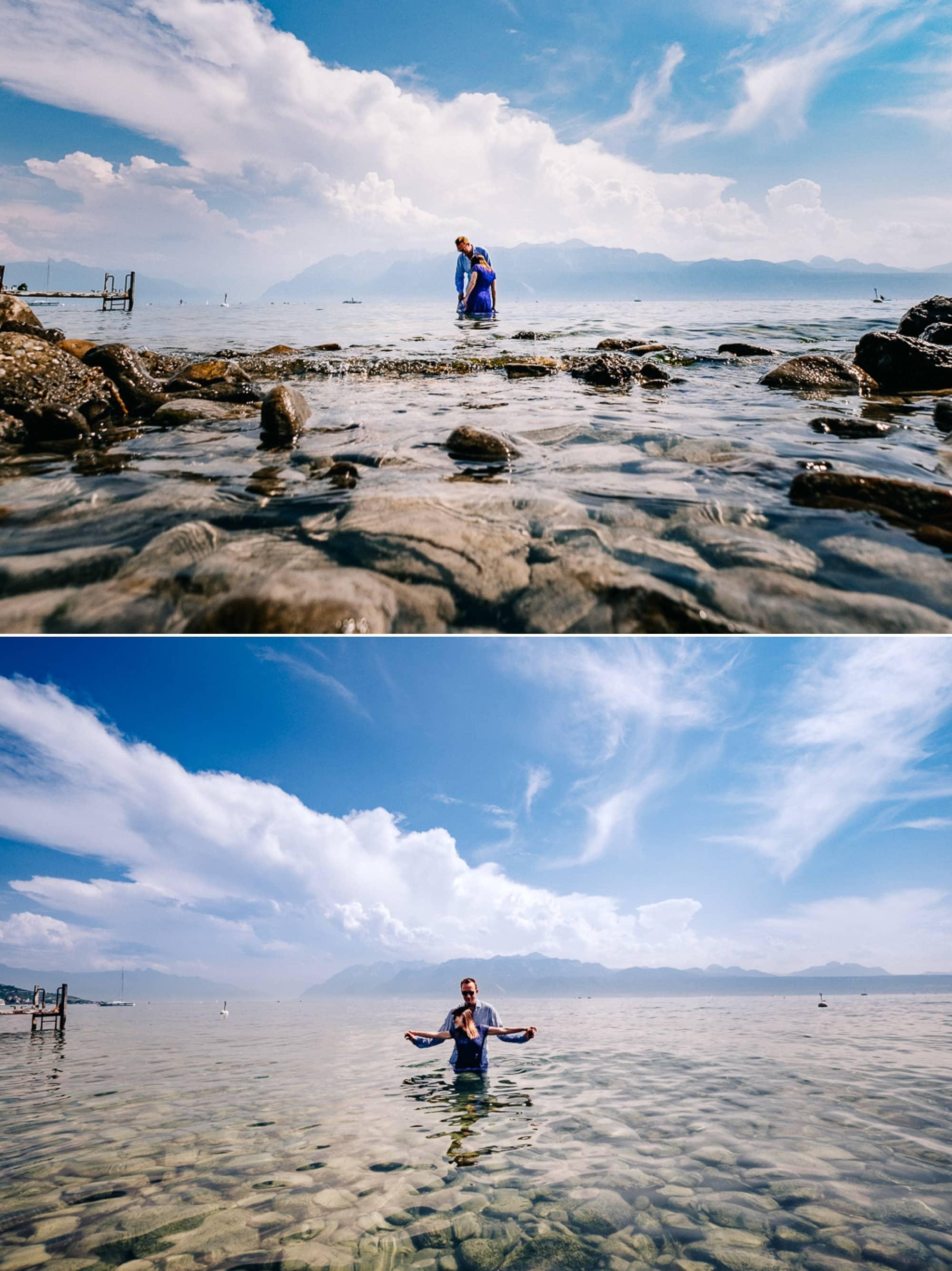 Les mariés dans l'eau du lac leman pour la séance engagement