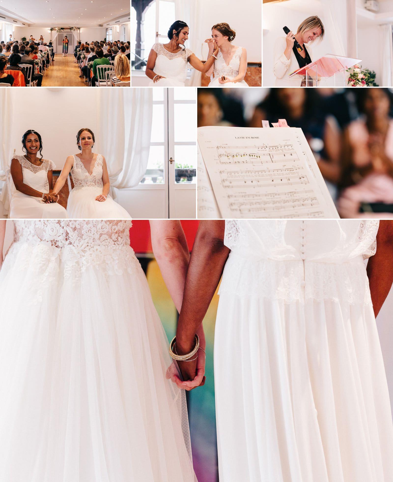 Mariage lesbienne cour de honau en Alsace