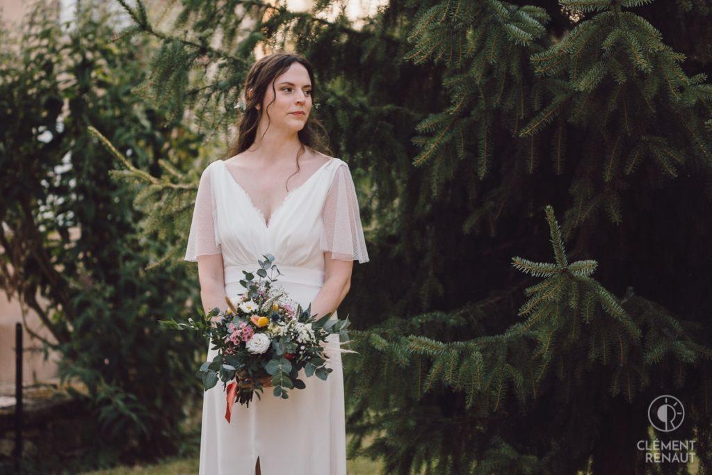 Photos de la mariée lors du mariage au chateau d'osthoffen